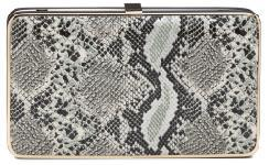 Olga Berg Snake Print Box Clutch
