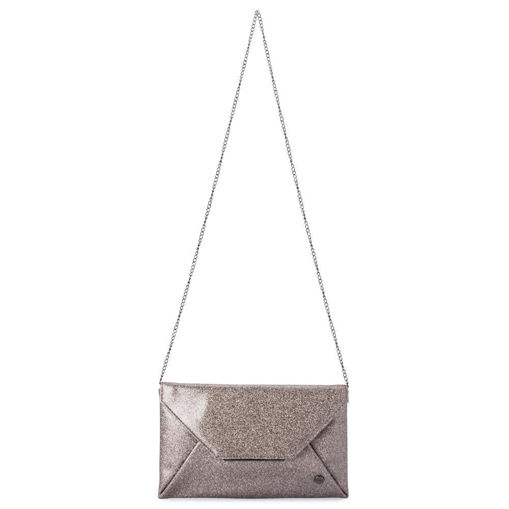 Olga Berg  Tash  Soft Glitter Clutch in Pewter