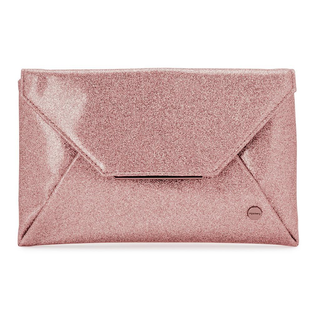 Olga Berg  Tash  Soft Glitter Clutch in Rose Gold