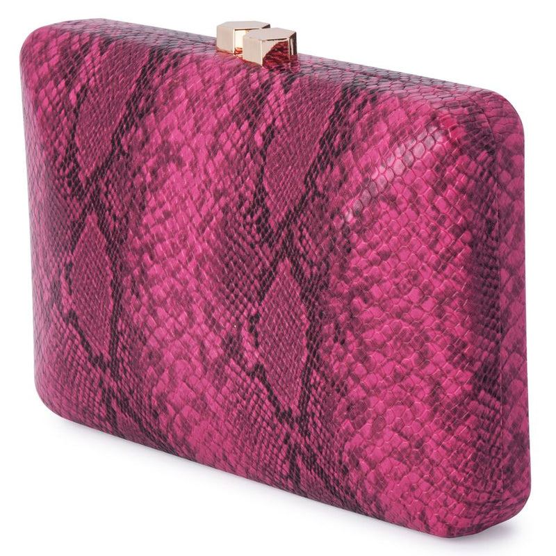 Olga Berg Ash Colourful Snake Clutch in Magenta