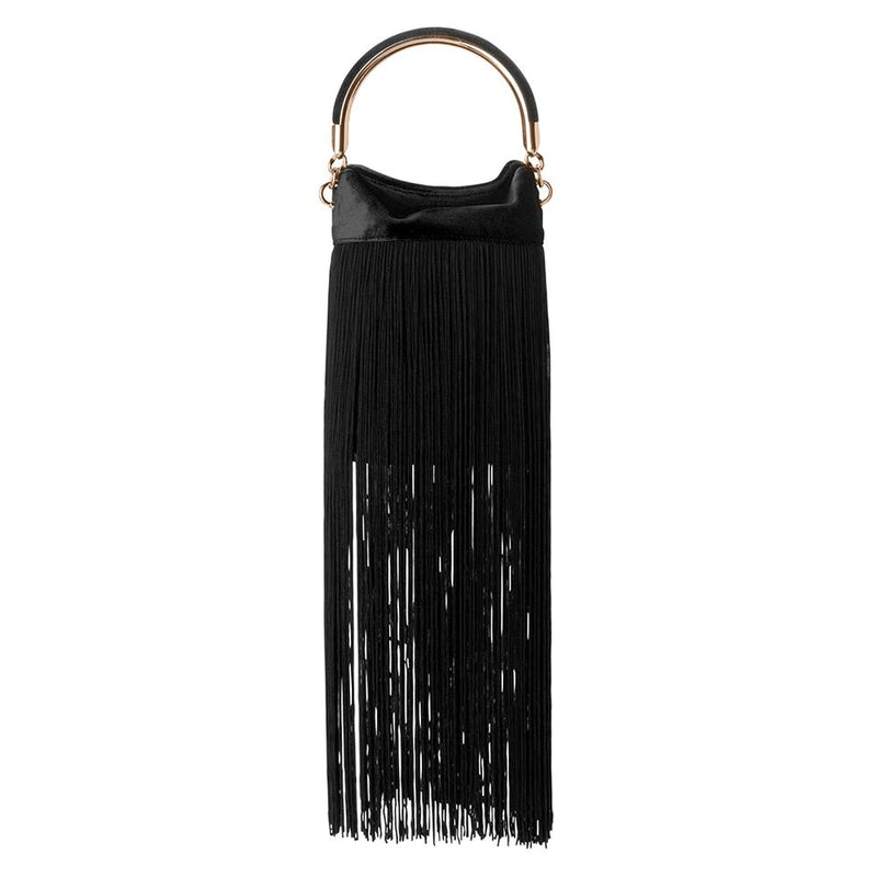 Olga Berg Stellar Fringed Top Handle Bag in Black