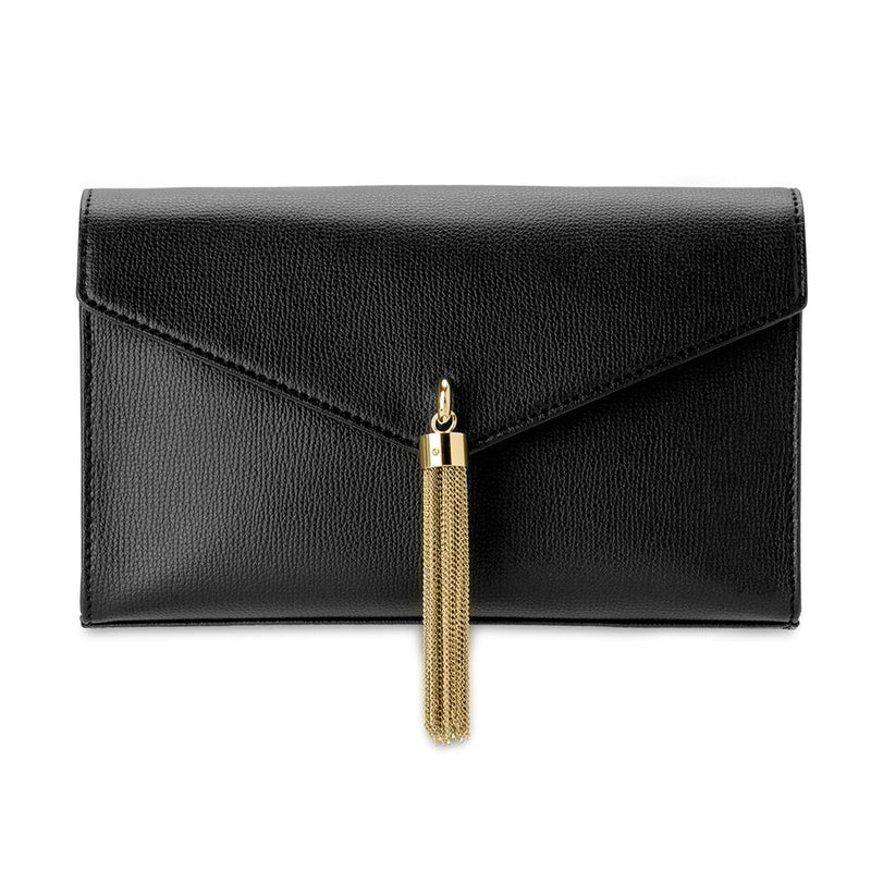 Olga Berg Lana Tassel Clutch in Black