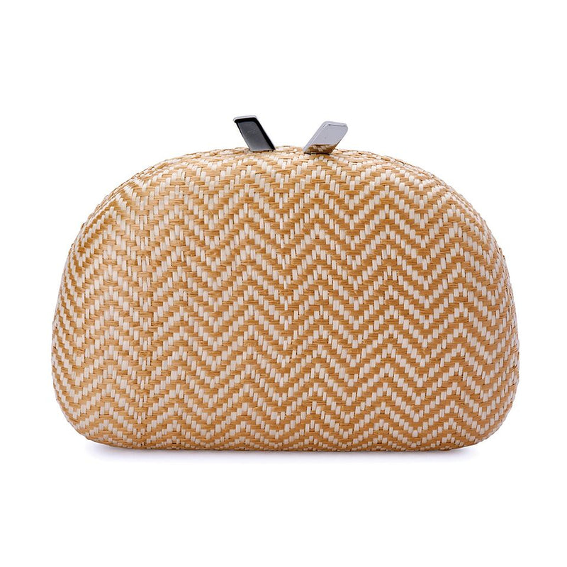 Olga Berg Nova Woven Straw Clutch in Natural