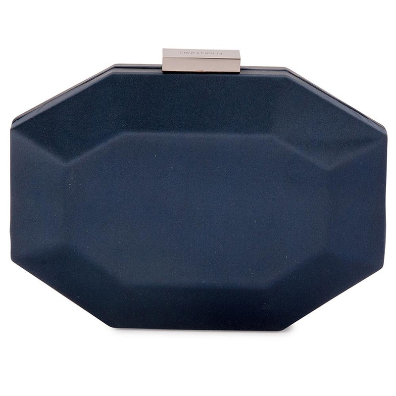 Olga Berg Amelia Satin Clutch in Navy