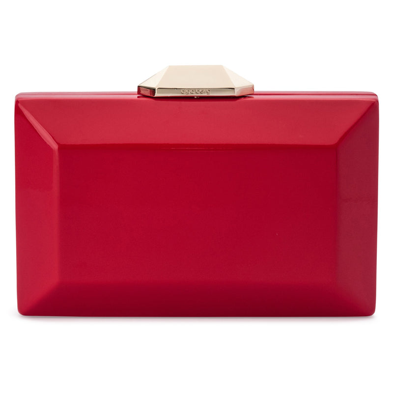 Olga Berg Emilia Patent Facet Clutch in Red or Blush