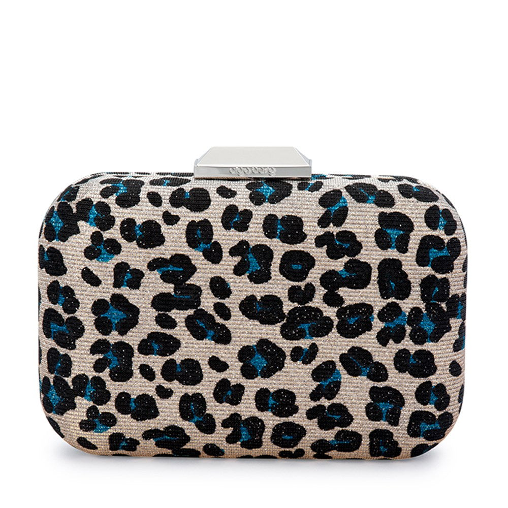 Olga Berg  Jayne Leopard Print Clutch in Blue