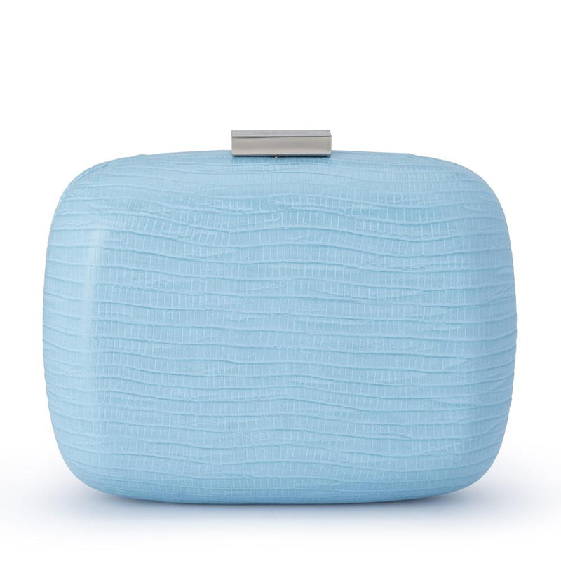 Paloma Reptile Emboss Oversized Clutch in Blue