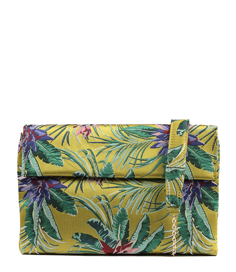 Olga Berg Bailey Tropical Shoulder Bag in Chartreuse