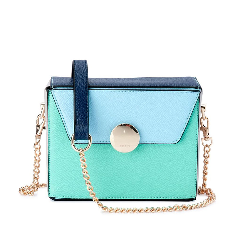 Olga Berg  Arden Multi Tone Box Bag in Blue