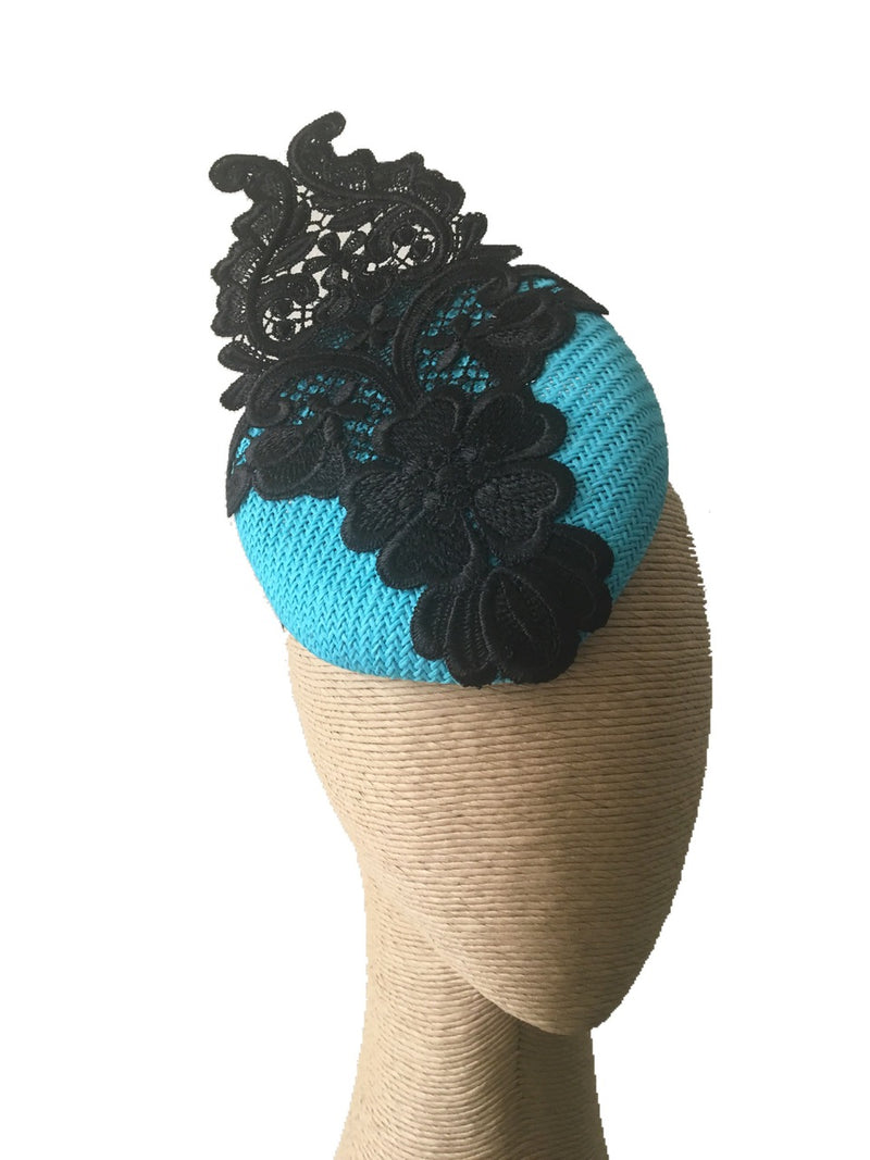 The Fillies Collection Button Hat in Turquoise with Black Lace