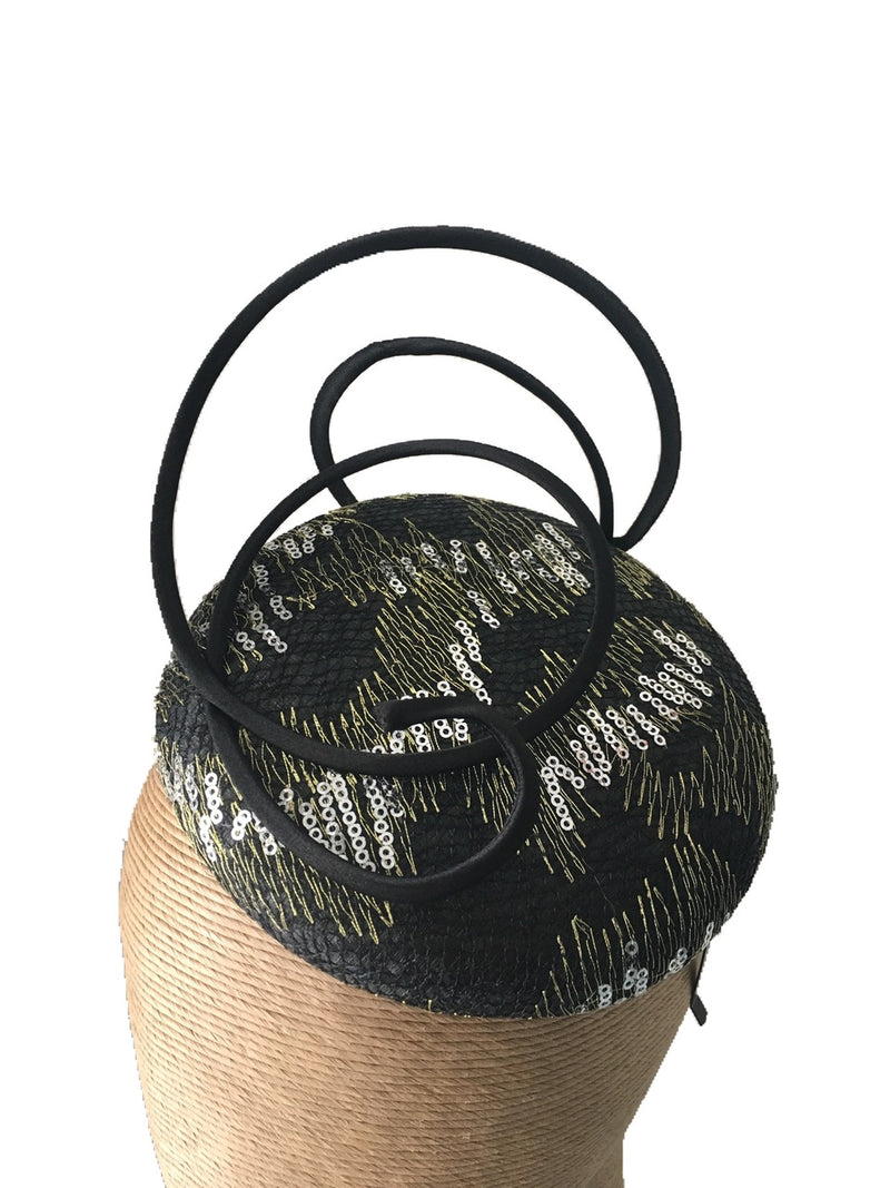 The Fillies Collection Robyn Sequinned Hat with Black Wire