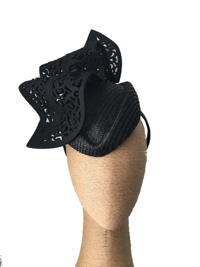 The Fillies Collection Kylie Air Hostess Hat with Cutout Wave in Black