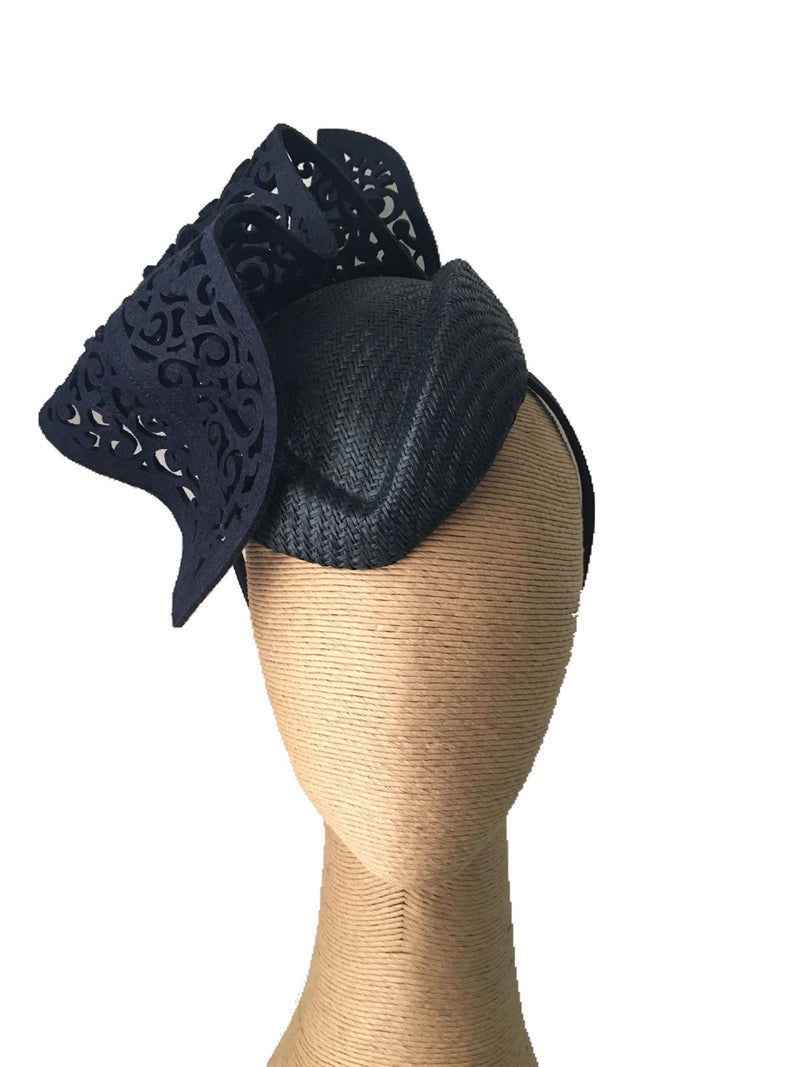 The Fillies Collection Kylie Air Hostess Hat with Cutout Wave in Navy