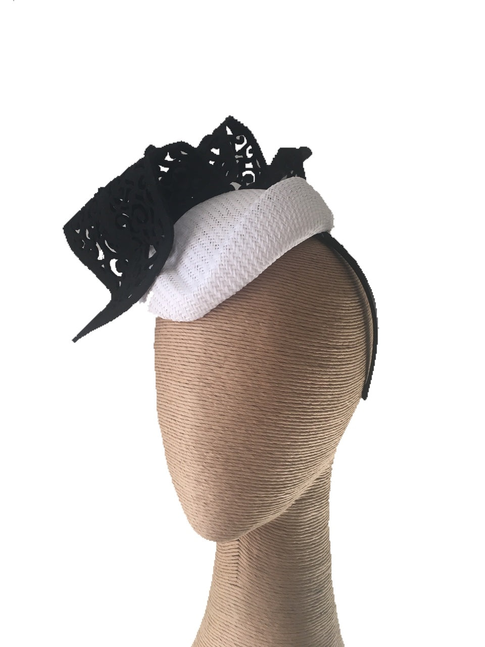 The Fillies Collection Kylie Air Hostess Hat with Cutout Wave in White/Black