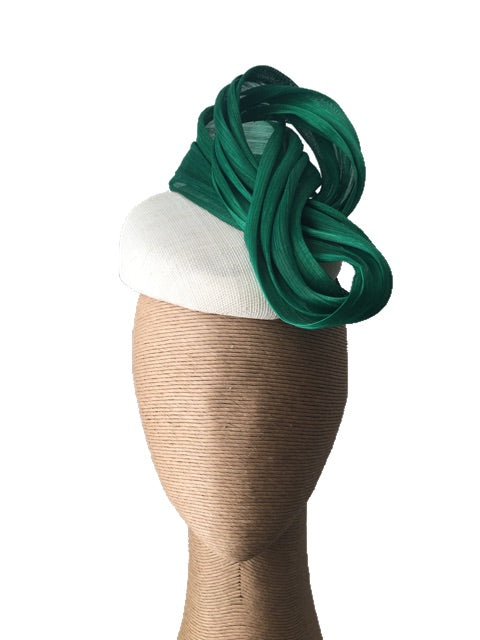 The Fillies Collection Jenny Hat in Cream with Green Loops