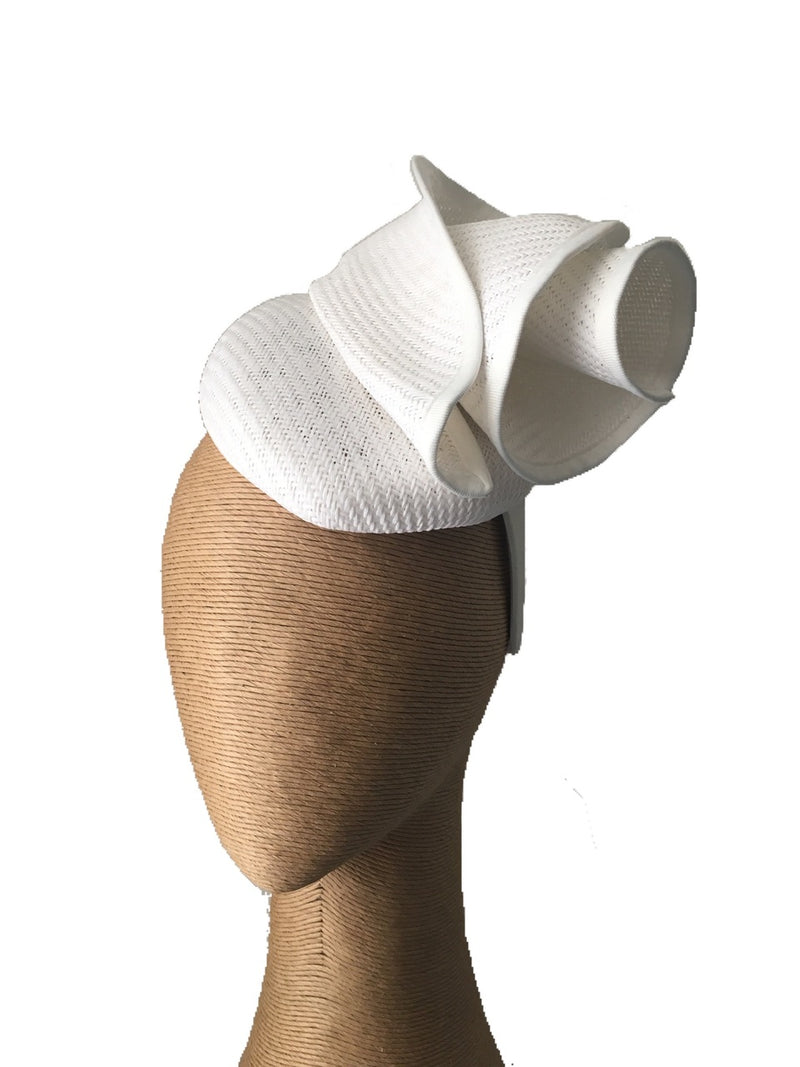 The Fillies Collection Sonya Hat with Folds in White on a Headband