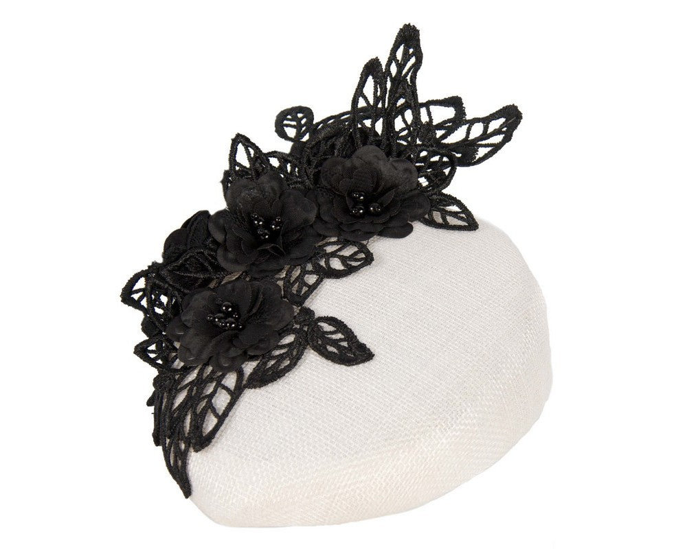 The Fillies Collection Gemma Cream Hat with Black Lace
