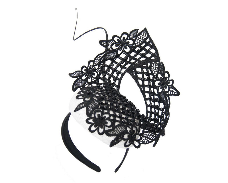 The Fillies Collection Ivy Headpiece in Black & White