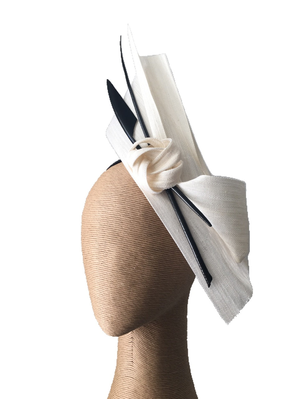 The Fillies Collection Bella Fascinator in Cream with Black Feather