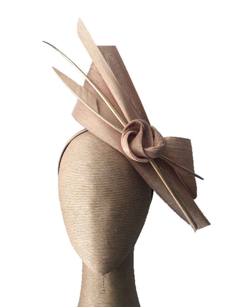 The Fillies Collection Bella Fascinator in Gold with Golden Feather