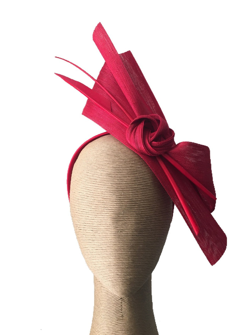 The Fillies Collection Bella Fascinator in Red with Red Feather