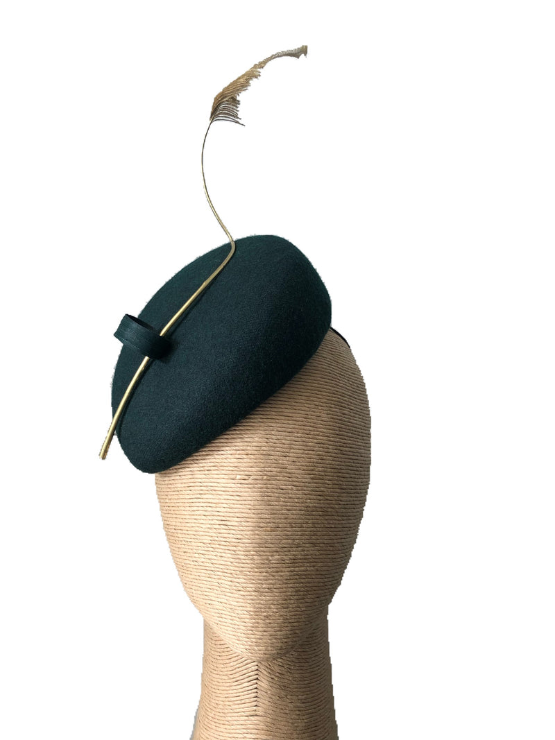 The Fillies Collection Anne  Green Felt Hat with Golden Feather