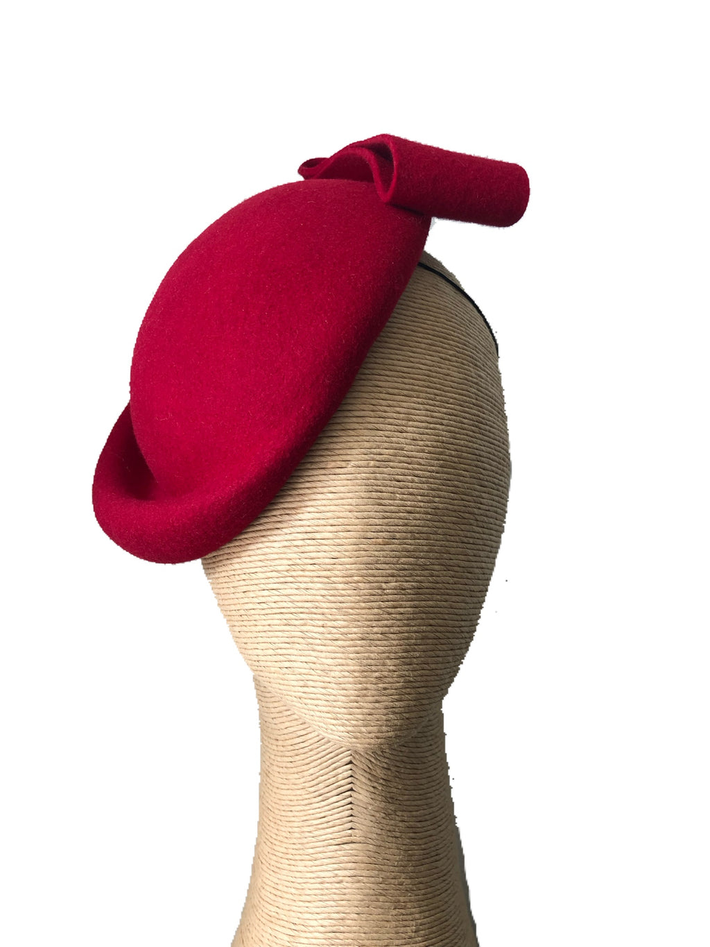 The Fillies Collection Eugenie Red Felt Beret with Red Bow