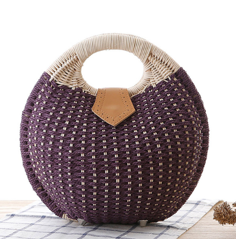 Get Racy Straw Summer Bag in Purple