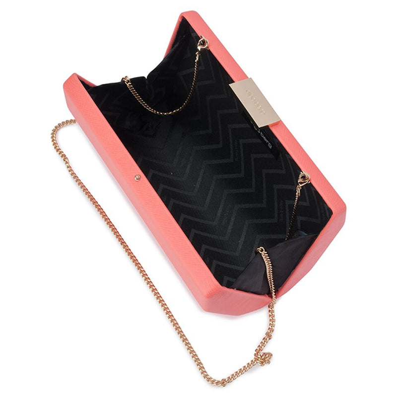 Olga Berg Jade Angular Saffiano Clutch in Coral