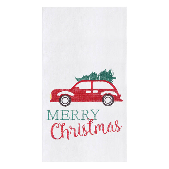 Holiday Car Embroidered Flour Sack Kitchen Towel