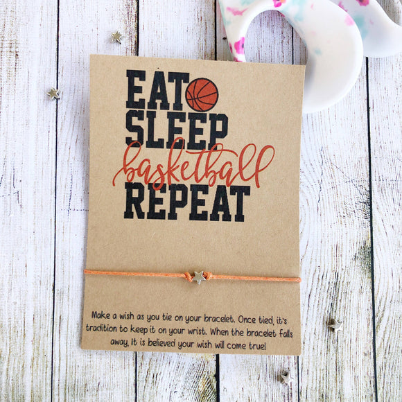 Eat Sleep Basketball Repeat Bracelet - Pink Julep Boutique