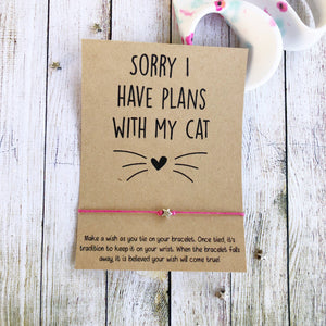 Sorry I Have Plans With my Cat Bracelet - Pink Julep Boutique