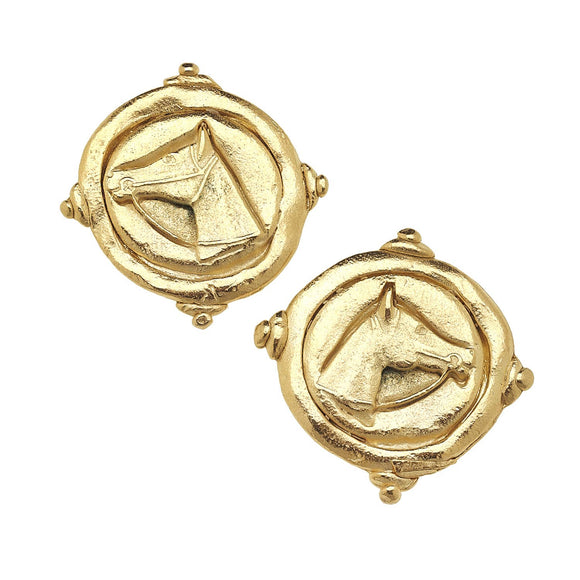 Susan Shaw Gold Horse Intaglio Pierced Earrings - Pink Julep Boutique