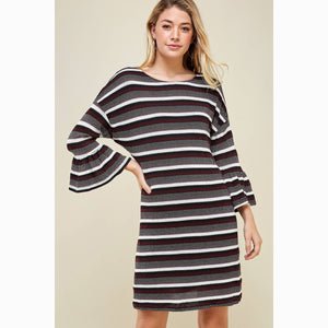 Round Neck Multi Striped Long Sleeve Sweater Dress - Pink Julep Boutique