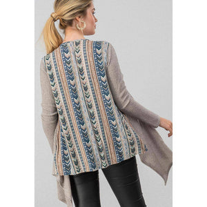 Patterned Rib Knit Open Drape Cardigan - Pink Julep Boutique
