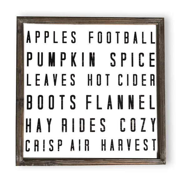 Fall Words Wood Sign 18x18 - Pink Julep Boutique