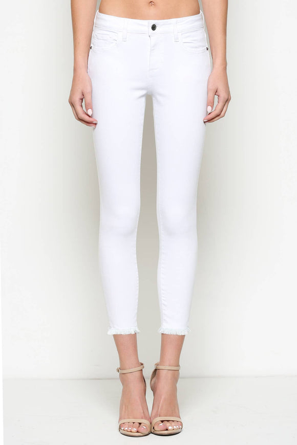 The Amelia White Clean Frayed Hem Skinny Jeans - Pink Julep Boutique