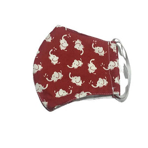 Child Age 2-3 - Reusable Red Elephant Face Mask 100% Cotton In Stock - Pink Julep Boutique