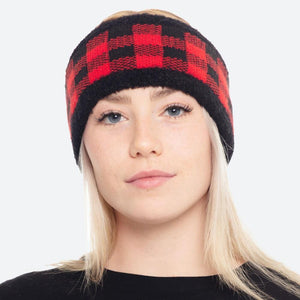 Red Knit Buffalo Check Headwrap