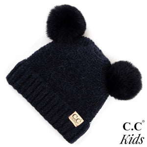 C.C Kids Ribbed Knit Double Pom Beanie- Navy - Pink Julep Boutique