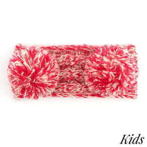 Kid's C.C Two Tone Double Pom Headwrap With Fuzzy Lining- Red