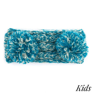 Kid's C.C Two Tone Double Pom Headwrap With Fuzzy Lining- Teal