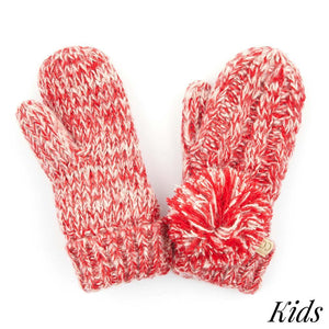 Kid's C.C Two Tone Pom Gloves with Fuzzy Lining- Red
