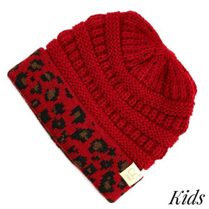 C.C Kids Red Beanie With Leopard Print