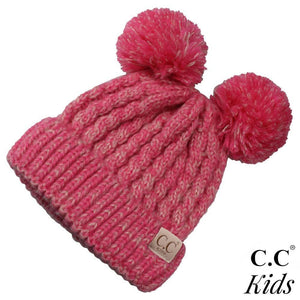 CC Kid's Double Pom Beanie in Hot Pink/Ivory