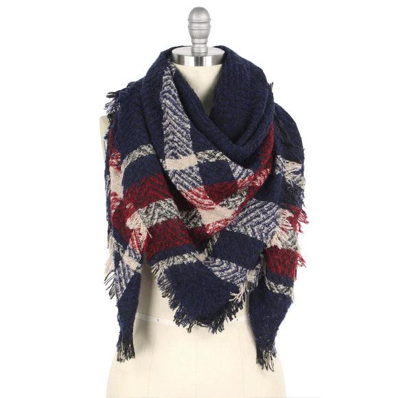 Red/Blue Blanket Scarf - Pink Julep Boutique