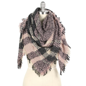 Pink/Charcoal  Blanket Scarf - Pink Julep Boutique