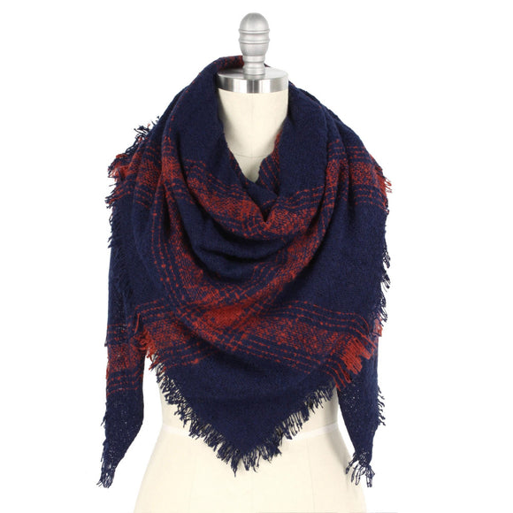 Navy/Orange Blanket Scarf - Pink Julep Boutique