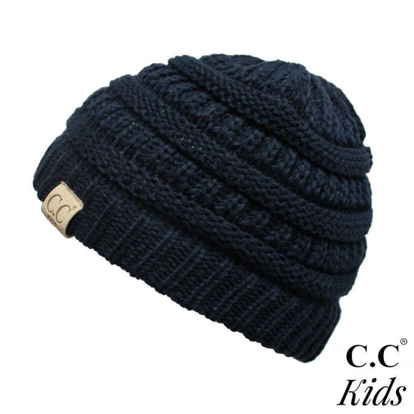 C.C Kid's Solid Knit Beanie- Navy
