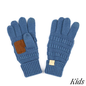 Dark Denim Kid's C.C Ribbed Knit Gloves